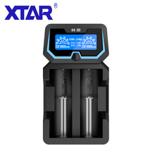 XTAR X2 LCD Charger Fast Charging Two Input Ports Chargers 3.6V/3.7V Li ion/IMR/INR/ICR, 1.2V Ni MH/Ni CD AAA AA Battery Charger