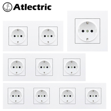 Atlectric 16A 110-250V EU/DE/RU Standard Power Plug Socket Grounding Socket Crystal Plastic Panel Wall Electrical Outlet