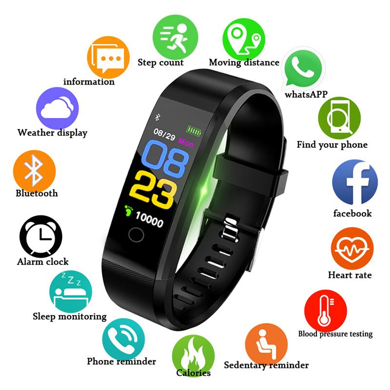Sport Health Waterproof Fitness Smart Watch Activity Tracker Wrist Band 115 Plus Smart Band Sport Health Waterproof Pedometers 5