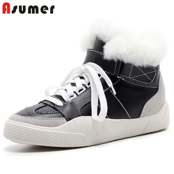 ASUMER 2020 big size 42 genuine leather ankle boots women thick fur winter snow boots lace up warm comfortable flat shoes woman