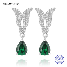 цена на Shipei 100% 925 Sterling Silver Personalized White Gold Sapphire Emerald Ruby Wings Water Drop Earrings for Women Birthday Gift