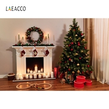 Laeacco Christmas Pine Fireplace Candle Gift Baby Photography Backgrounds Customized Photographic Backdrops For Photo Studio