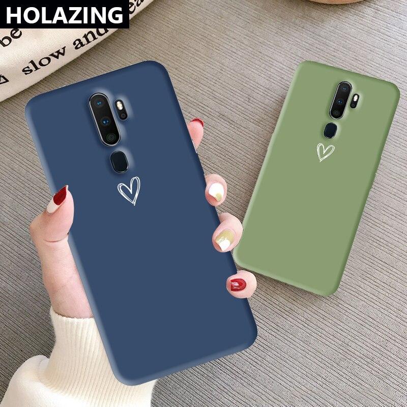 For OPPO A9 2020 A91 A5 A7 A31 A3S AX7 AX5S A9 Case Heart Couples Cute Silicone Cover Anti-Scratch Shoockproof Coque Funda