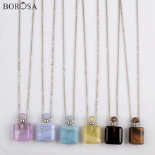 Squre Natural Stone Perfume Bottle Pendant Necklace Silver Plated Essential Oil Diffuser Crystal Necklace for Women WX1614 недорого