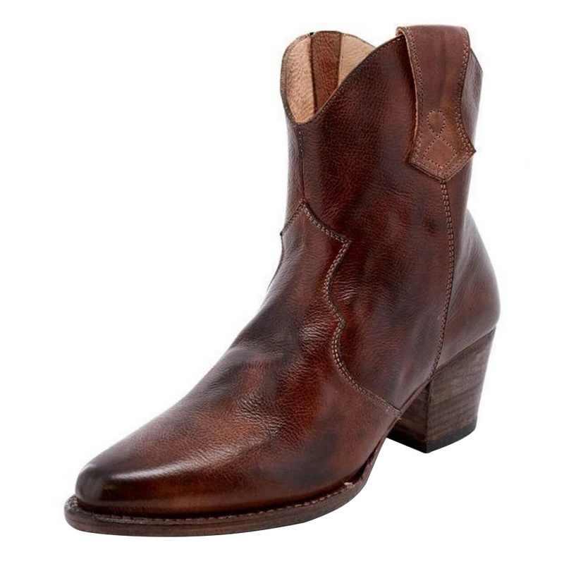 MoneRffi คุณภาพสูง Vintage ผู้หญิงรองเท้ารองเท้าส้นสูงหัวเข็มขัดคาวบอยกลางลูกวัวรองเท้าแฟชั่นรองเท้าลำลอง Botines Mujer 2019