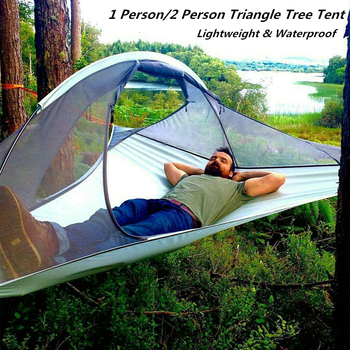цена на Portable Camping Hanging Tree Tent Bed 1/2 Person Triangle Suspension Tent Outdoor Traveling Ultralight Waterproof Hammock Tents