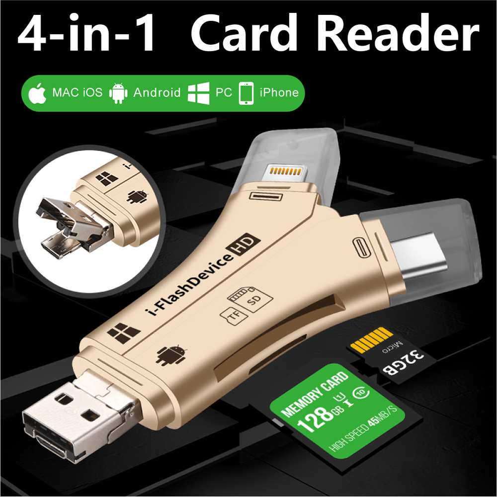 4in1 Card Reader Usb-C Micro USB MicroSD Multi Cardreader For Android Ipad/iphone 7plus 6s5s MacBook OTG TF SD Adapter 888