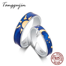 Real 925 Sterling Silver Enamel Ring Adjustable Wedding Bands Couple Rings Luxury Moon Sun Rings For Women Men Lovers Jewelry недорого