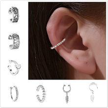 20 estilo clipe no envoltório brinco tragus corpo jóias orelha manguito clipe nariz anel falso piercing corpo jóias confortável orelha piercing jóias