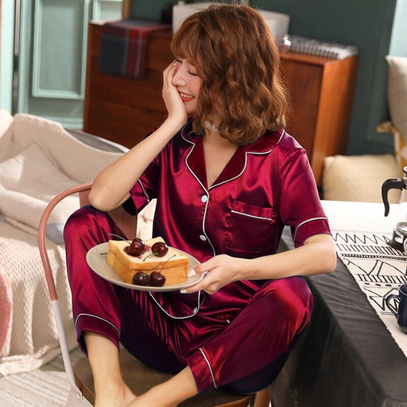 2020 Summer 2 Pieces Women Pajamas Set Faux Silk Sleepwear Satin Autumn  Suit HomewearShort Sleeve Long Pants Sleepwear Pajamas