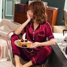 2020 estate 2 Pezzi Delle Donne Pajamas Set Indumenti Da Notte In Raso di Seta Del Faux Vestito di Autunno HomewearShort Manica Pantaloni Lunghi Degli Indumenti Da Notte Pigiama