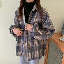 2020 Autumn and Winter New Style Single Row Multi-Button Plaid Shirt Loose Thick and Comfortable and Fluffy Coat Female Fashion