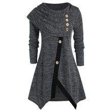 Модная Асимметричная блузка размера плюс 5XL, Повседневная зимняя Женская туника с круглым вырезом, женская рубашка с длинным рукавом, блузка, пуловер