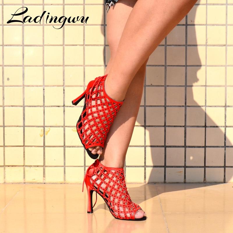 Ladingwu Red Dance Shoes Woman Shoes Dance Latin Red rhinestone Women Ballroom Dance Shoes Latin Heels 10cm Tango Dance Shoe