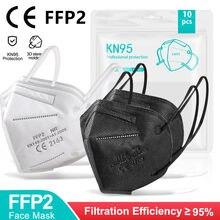 5-100 pces ffp2 mascarillas negras 5 camadas reutilizáveis kn95 máscara facial aprovado fpp2 ffp2mask protetor ce branco cor preta maski