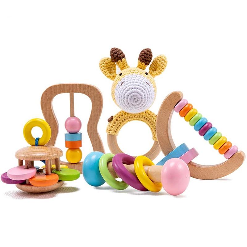 Органический безопасный, деревянный, игрушки для малышей, игрушка DIY, связанная крючком погремушка, пустышка, браслет, набор для прорезывани...