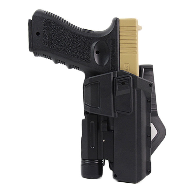 Tactical Gun Holster For Glock 17 18 22 23  Airsoft Pistol Holster With Flashlight Laser Movable Gun Case Hunting Accessories