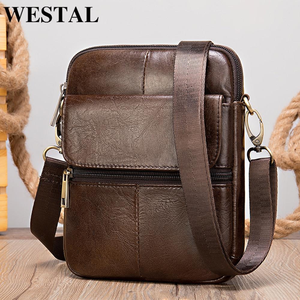 WESTAL Genuine Leather Men's Shoulder Bag Male Small Phone Bag For Men Crossbody Bag Men's Leather Bag Thin Designer Bags 7350