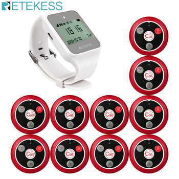 Retekess Restaurant Pager Wireless Waiter Calling System TD108 Watch Receiver+10 T117 Call Button For Customer Service Clinic