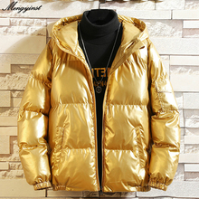 Winter Jacket Men 2020 Young People Glossy Fashion Hooded Collar Thicken Warm Down Cotton Padded Parkas Coat Solid Outwear 6XL