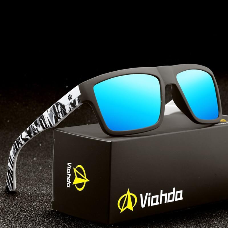 VIAHDA ブランドのデザイン偏光サングラス男性ドライバーシェード男性ヴィンテージ男性 Spuare ミラー夏 UV400 Oculosサングラス   -