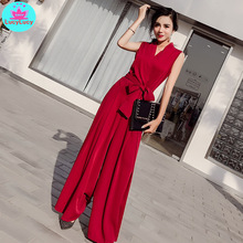 2019 summer new Korean fashion V-neck sexy seaside holiday bow tie jumpsuit Solid  Regular Casual