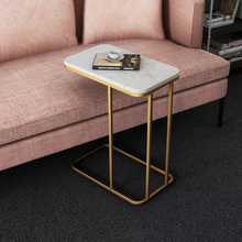 Mesa lateral elegante del norte de Europa mesa lateral de hierro sofá esquina pequeña mesa de centro armario lateral cama cuadrada de mármol