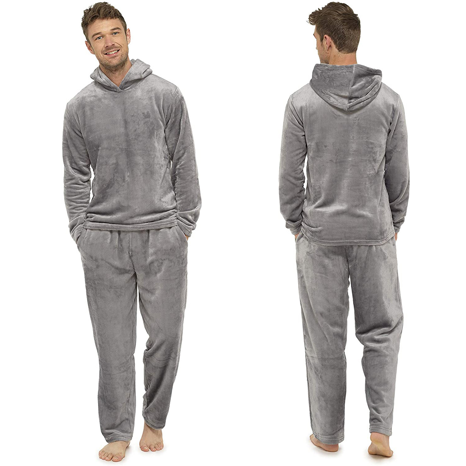 2021 New Warm Flannel Pajama Sets for Men Solid Hooded Sleepwear Pullover Tops Long Pant Suit Male Pyjamas Casual Home Clothes