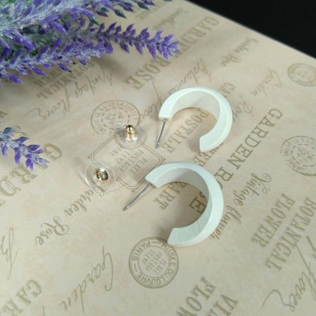 AMORCOME Cute Moon Matte Wooden Earrings Geometric C-Stye Statement Vintage Big Circle Wood Ear Ring 2020 Fashion Jewelry Gift