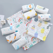 5pcs Baby towel 100% Cotton 25x50cm muslin 6 layers of gauze babys face wash cloth
