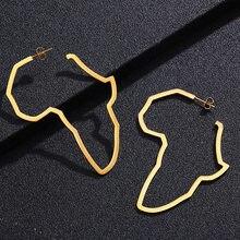 Mapa africano brincos exagerar grande laço orelha studs ouro prata cor áfrica ornamentos tradicional étnico hyperbole instrução