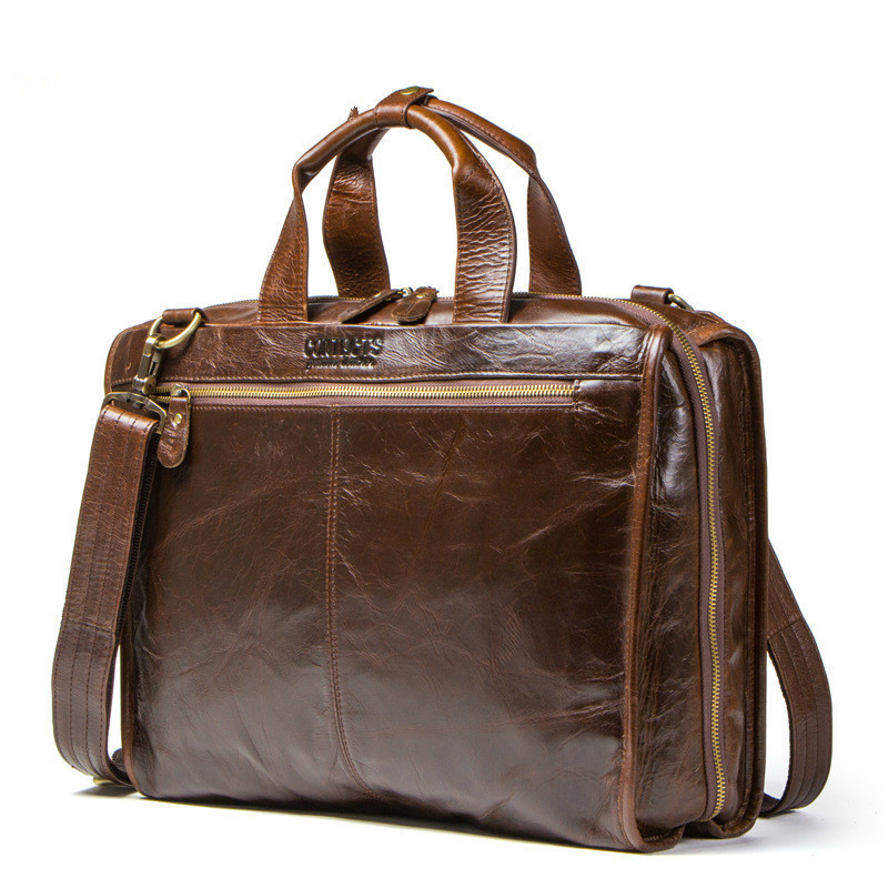 Genuine Mens Leather Briefcase Laptop Messenger Brown Bags Business Man Single Shoulder Satchel Leisure Time Computer Package