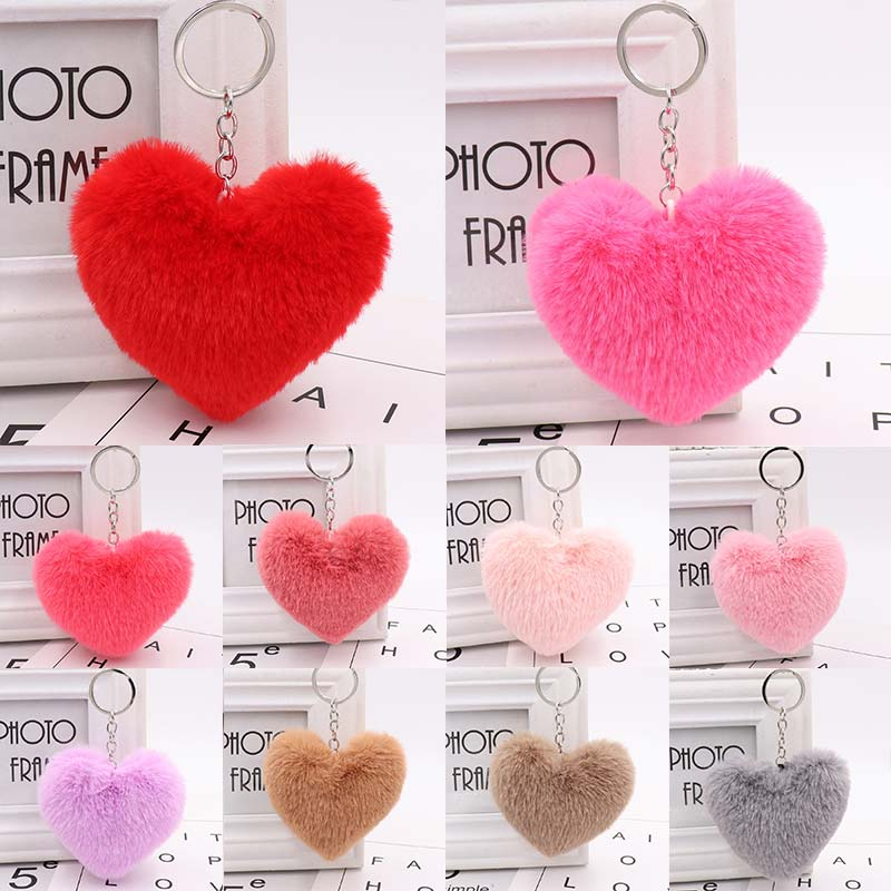 10CM Cute Fluffy Heart Keychains Women's Simulation Rabbit Fur Key Chains Girl Bag Hang Car Key Ring Jewelry Accessories