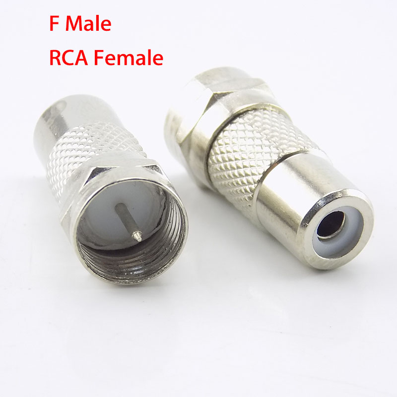 2pcs Adapter F Type Male Plug To RCA Female Jack TV Video  Connector Coax Cable Straight RF Coaxial