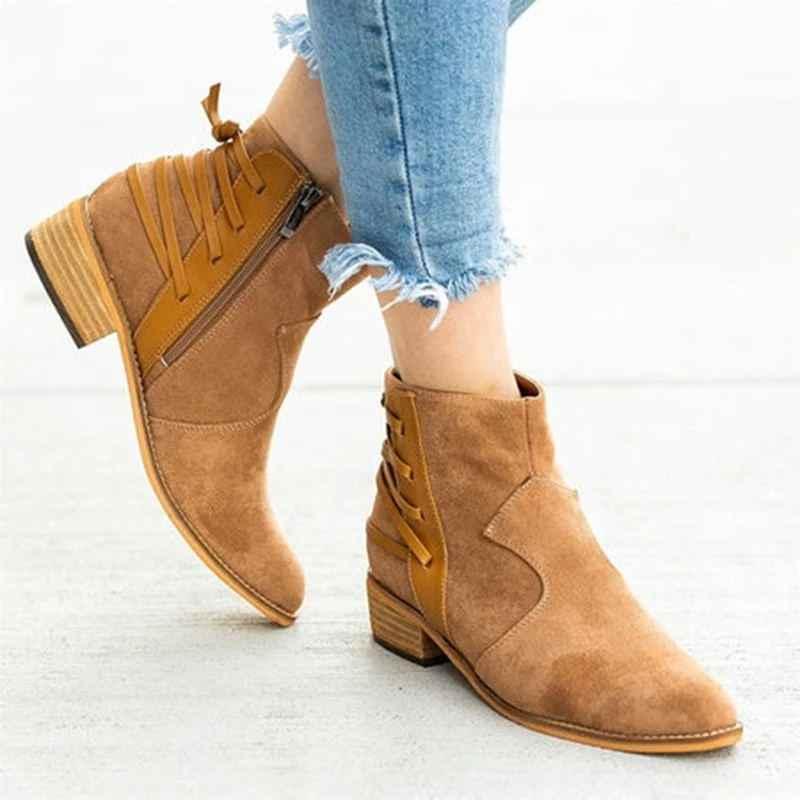 EOEODOIT Herbst Stiefel Med Chunky Block Ferse Retro Plus Größe Schuhe Frauen Casual Spitz Seite Zip Faux Wildleder Ankle kurzen Boot