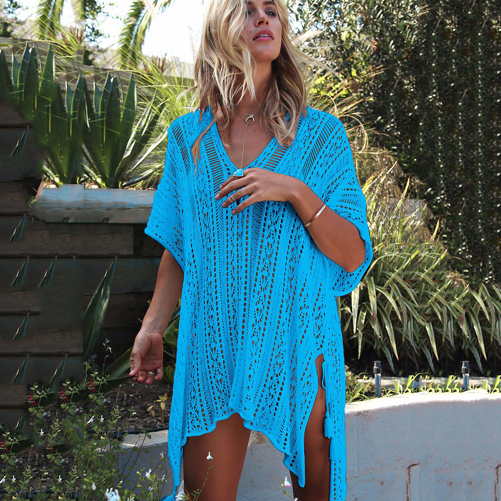New Knitted Beach Cover Up Women Bikini Swimsuit Cover Up Hollow Out Beach Dress Tassel Tunics Bathing Suits Cover-Ups Beachwear 29
