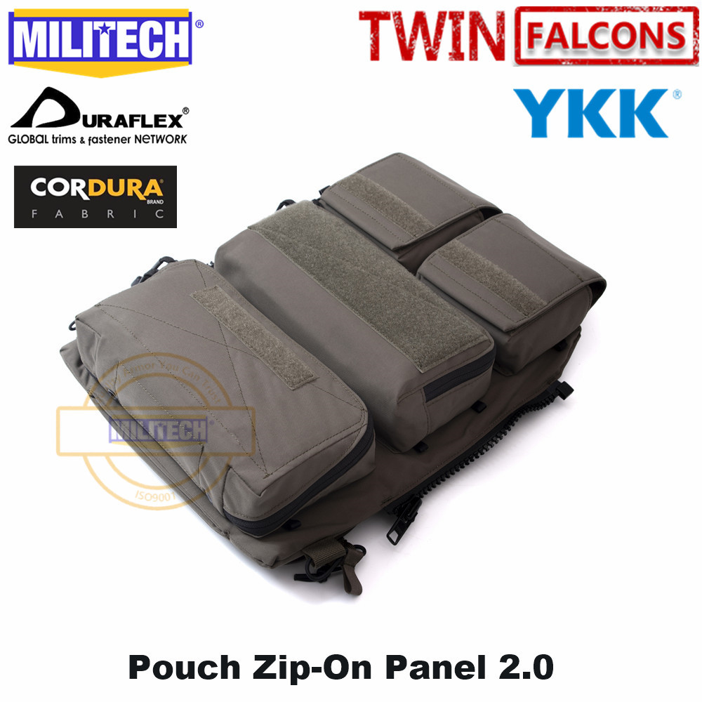 MILITECH Crye CP 2.0 Zip-On Pouch Panel Platform For JPC CPC AVS Military Zipper Pack TWINFALCONS TW 500D Delustered Cordura