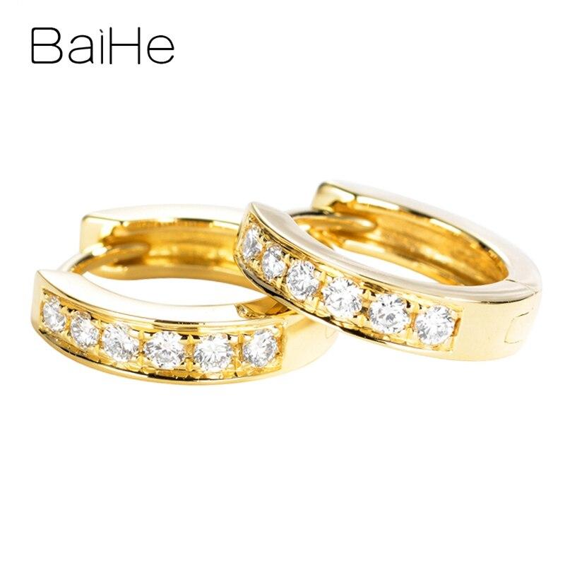 BAIHE solide 14K or jaune 0.18ct rond diamants naturels mariage à la mode femmes hommes bijoux fins cadeau belles boucles d'oreilles en diamant