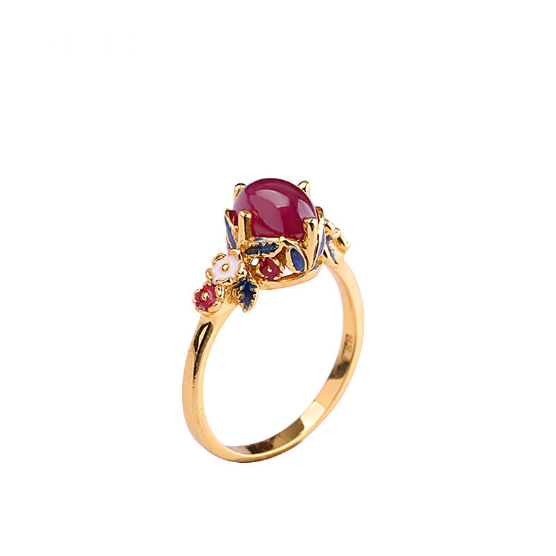 925 argent Sterling pierre gemme cloisonné couleur artisanat fait à la main bague rubis femmes bijoux fins luxe à la mode bague de fiançailles