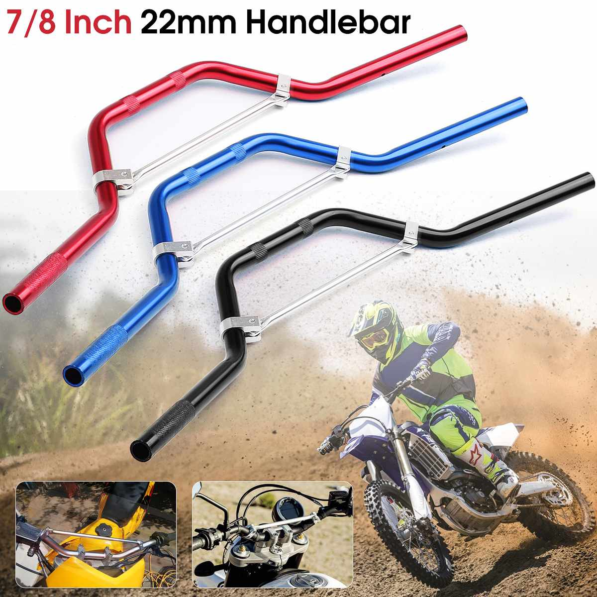 22mm 7/8'' Aluminum Motorcycle Braced Handlebar Handle Bars For Honda 50cc 70cc 110cc 125cc 140cc Dirt Pit Bike ATV Scooter