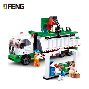 цена на city garbage building blocks classification truck cards Sanitation truck Bricks educational Toys for Children Gifts
