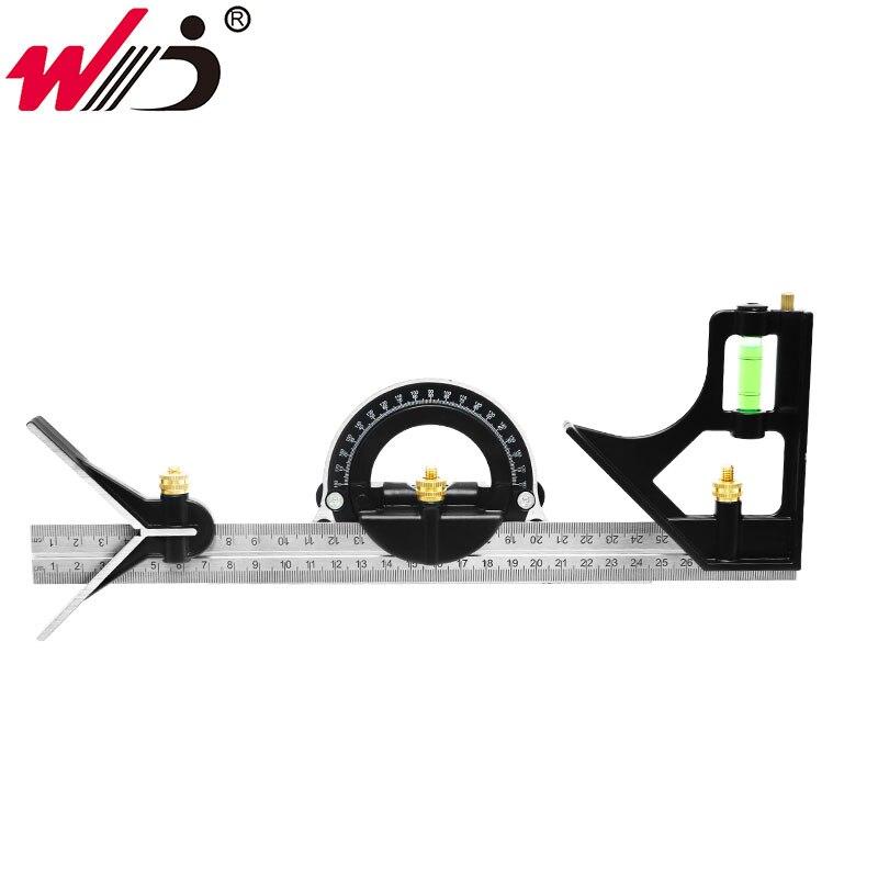Novo 300 mm de aço inoxidável transferidor multi-função ângulo régua multi combinação ângulo quadrado localizador ângulo ferramenta calibre