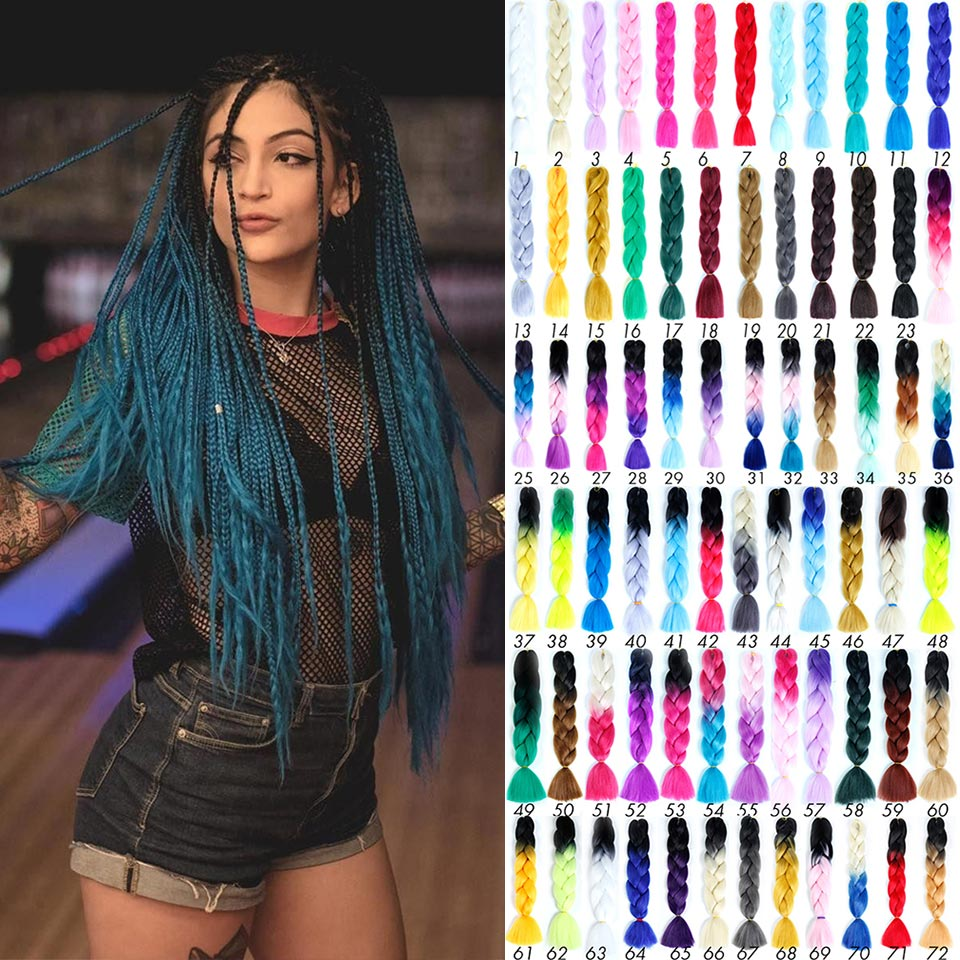 Afro Ombre Crochet Hair Wick Expression Pre Stretched Braiding Hair Extensions Colored Canecalon For Braids Jumbo Synthetic Hair