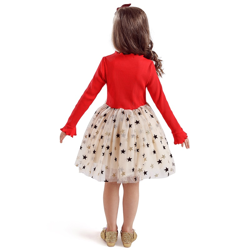 Kid Dresses For Girls Long Sleeve Girl Dress Sequin Star Children Dress Casual Dress Kid Dress Girl Party Wear Clothing Vestidos 3