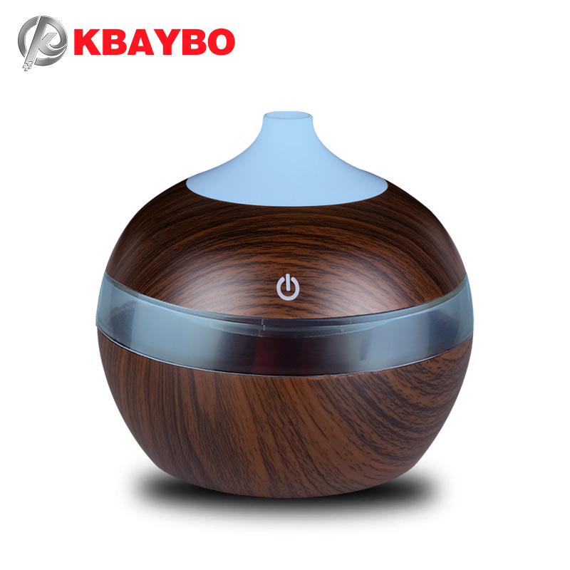 KBAYBO 300ml Mini USB Humidifier Essential Oil Diffusers Electric Humidifier Fog Maker With LED Night Light Wood Grain For Home