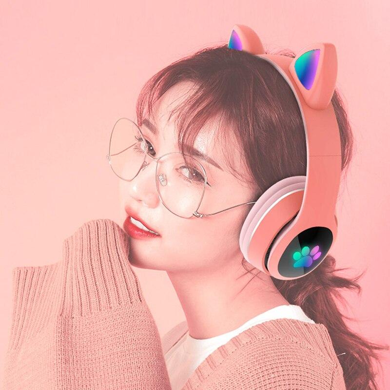 Bluetooth наушники, гарнитура с милыми кошачьими ушками, стерео, беспроводные складные наушники с TF-картой, музыкальным проигрывателем, наушник...