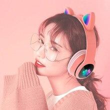 Fone de ouvido bluetooth bonito gato orelha flash baixo pesado estéreo sem fio dobrável tf cartão leitor música jogo telefone fone de ouvido