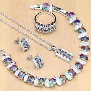 Image 1 - 925 Silver Jewelry Mystic Rainbow Fire Imitation Stones Jewelry Sets Women Wedding Earrings/Pendant/Necklace/Rings/Bracelet