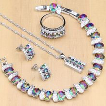 Conjunto de Joyas de piedras de imitación de arco iris místico para mujer, joyería de plata 925, aretes, colgante, collar, anillos, pulsera de boda