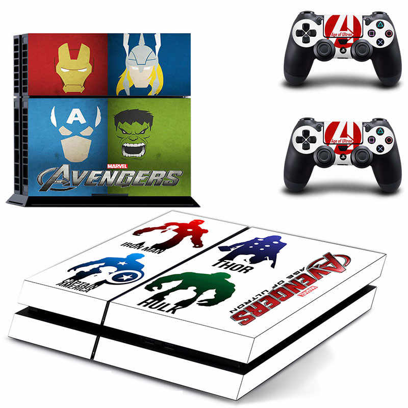 Marvel The Avengers PS4 Stickers Play station 4 Skin PS 4 Sticker Decals Cover For PlayStation 4 PS4 Console & Controller Skin